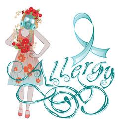 Girl in gasmask allergy vector