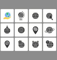 globe icon set isolated on white vector image