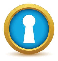 Gold keyhole icon vector