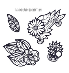 Hand drawn flowers Coloring page decoration vector