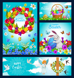 happy easter holiday posters and banner vector image
