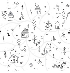 houses in winter forest seamless pattern with vector image