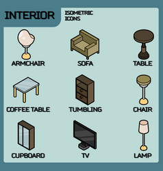 interior color outline isometric icons vector image