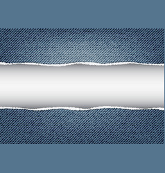 jeans background with torn edges vector image