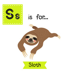Letter s tracing lying sloth vector