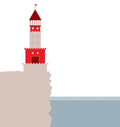 lighthouse rocky island ocean Red and beige vector image