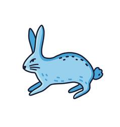 line art contour blue hare vector image