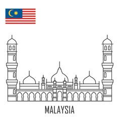 malaysia landmark masjid jamek mosque kuala vector image