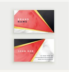 Modern marble texture business card design vector