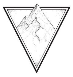 Mountain tattoo in dotwork style vector
