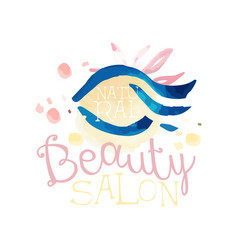 natural beauty salon logo label for hair or vector image
