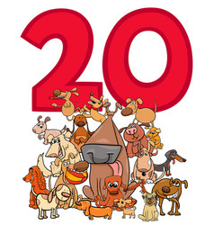 Number twenty and cartoon dogs group vector