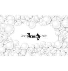 Of card placed in white pearls or vector