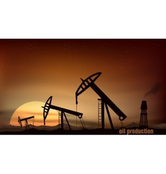 Oil production from towers at sunset vector