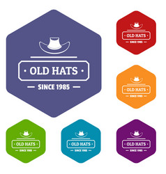 Old hat icons hexahedron vector