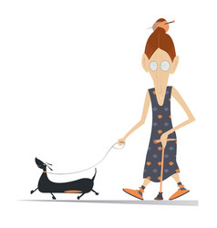 Old woman dog and cane isolated vector