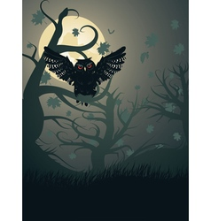 Owl in the Night Forest2 vector image