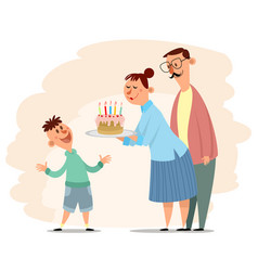 parents congratulate sons birthday vector image