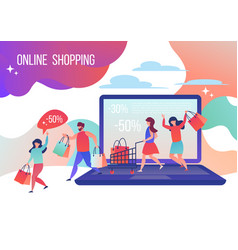 People make purchases in the online store vector