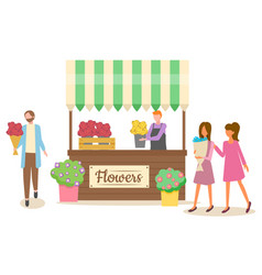 people with bunch flowers natural gift vector image