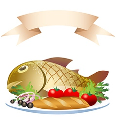 Prepared fish with loaf vector