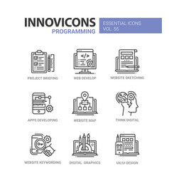 programming - modern line design icons set vector image