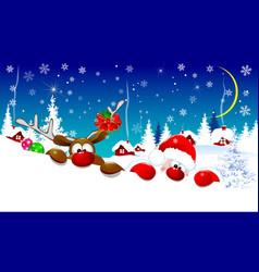 santa and deer on christmas night vector image