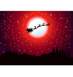 Santa is flying in Christmas night vector