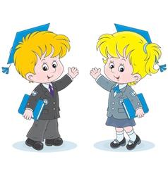 Schoolchildren with trencher-caps vector image vector image