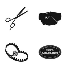 Scissors handshake and other web icon in black vector