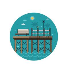 sea pier seaside icon in line art vector image