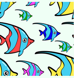 Seamless background ocean fish colored vector