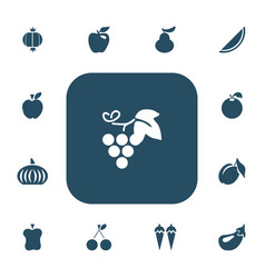 set of 13 editable fruits icons includes symbols vector image