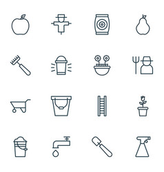 set of 16 planting icons includes hang lamp vector image