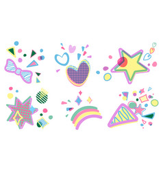 Set of birthday party decorative design vector