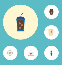 set of coffee icons flat style symbols with seed vector image