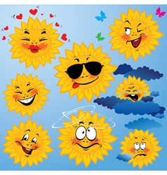 Set of cute cartoons of sun with different express vector image