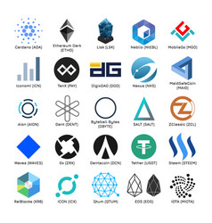Set of logos of popular cryptocurrency vector