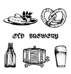 Set of old brewery elements collection of vector