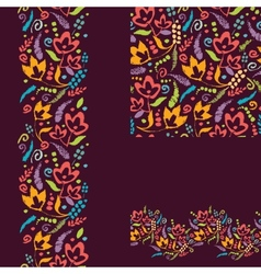 Set of painted plants seamless pattern and borders vector