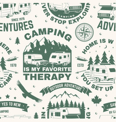 set outdoor adventure seamless pattern vector image