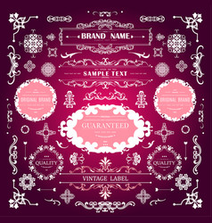 set vintage decorations valentines elements vector image