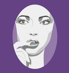Sexy young woman with finger in mouth vector