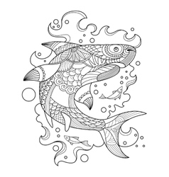 Shark coloring book for adults vector image