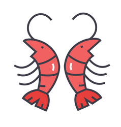 Shrimp prawn concept line icon editable vector