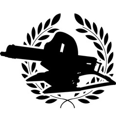 Silhouette of machine gun and laurel wreath vector