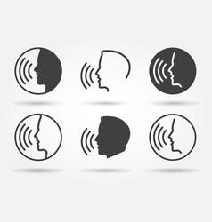 Speaking icons set vector