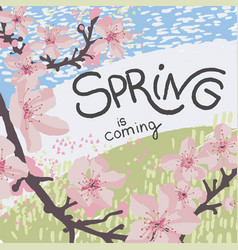 Spring is coming sakura tree in blossom in march vector