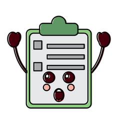 Suprised clipboard kawaii icon image vector