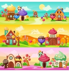 Sweets Landscape Banners Set vector